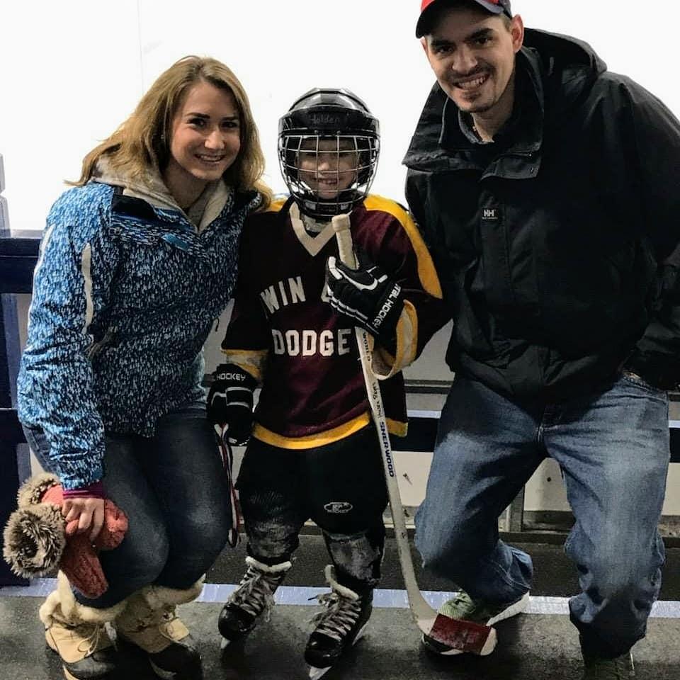 Kelsey, Holden, and Cody Reyes at Holden's Hockey Jamboree on Sunday