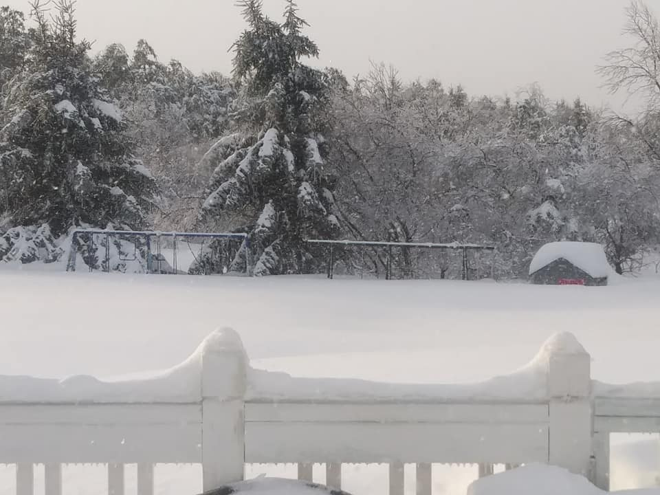 Kelsey's view of her backyard on Wednesday morning (buried swing sets and playhouse)