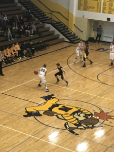Negaunee controls the ball in their 51-45 win over the Gwinn Modeltowners