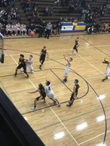 Negaunee shoots a free throw in their 51-45 defeat of Gwinn