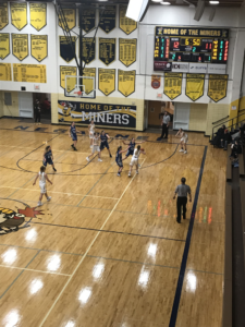 Negaunee passes out of a double team into the corner in their 46-40 win over the Calumet Copper Kings on 101.9 SunnyFM.