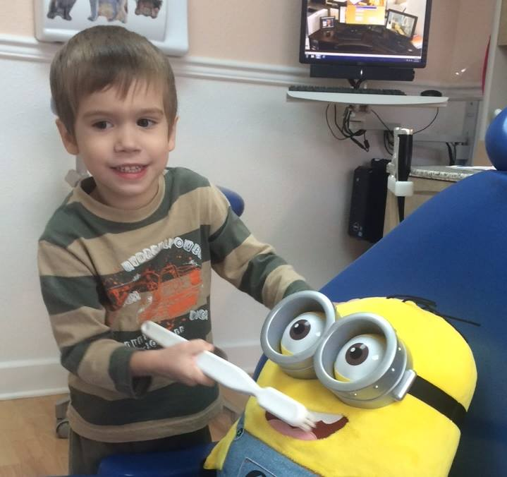 Kelsey's son, Holden, at age 5 at the dentist