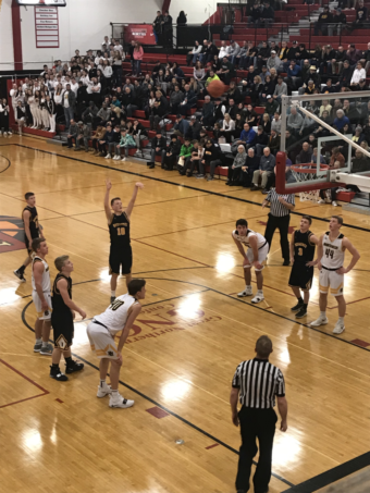 The Miners attempt a free throw in their 51-40 to Iron Mountain in the Regional semi-finals on 101.9 SunnyFM.