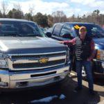 Sales pro Bruce Kee with a 2013 Silverado