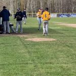 Negaunee's John Laurin warming up before the game.