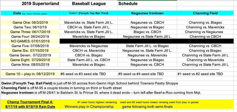 2019 Superiorland Baseball Schedule