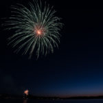 Other people were setting off smaller fireworks along the shoreline too.