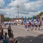 Here comes the band in the Pioneer Days Parade