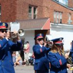 Band marches during the Pioneer Days Parade