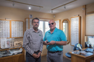 Mika Gronqvist, a Finnish optometrist at Superior Eye Health Care with Todd Noordyk.