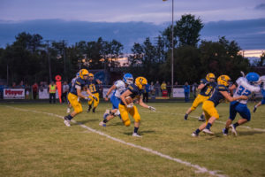 The Negaunee Miners playing against the Ishpeming Hematites during the 2019 Football Season.
