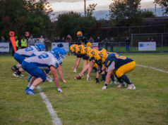 Negaunee lines up on offense in their big 40-20 win over the Ishpeming Hematites on Sunny 101.9.