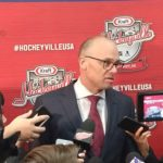 Head coach Jeff Blashill during the Hockeyville post game press conference.