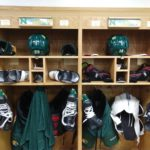 Grant Loven and Vincent De Mey's stalls in the NMU locker room