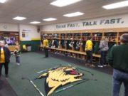 The NMU Hockey team's locker room