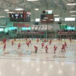 The Red Wings warming up before the Hockeyville game.
