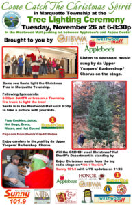 Join us for the Catch the Christmas Spirit Tree Lighting in Marquette Township.