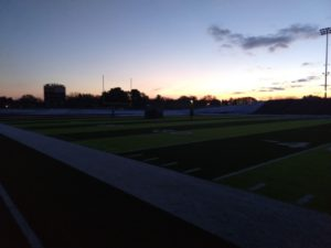 This is how dark it was at the end of the Hematites' practice on Friday night. Crazy!