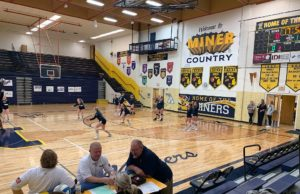 The Negaunee Miners warming up before the match