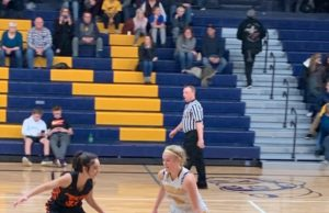 Negaunee's Lilly Nelson dribbles the ball across halfcourt in her team's 66-50 win over Houghton on Sunny 101.9.