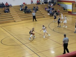 Larissa Anderson handles the ball for the Negaunee Miners in their 54-36 win over Hancock on Sunny 101.9.