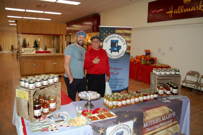 Music at the Mall - Drew with Mother Mary's pickles, salsas, Willie beans, cherry salsa as a favorite, Apple sauce and more