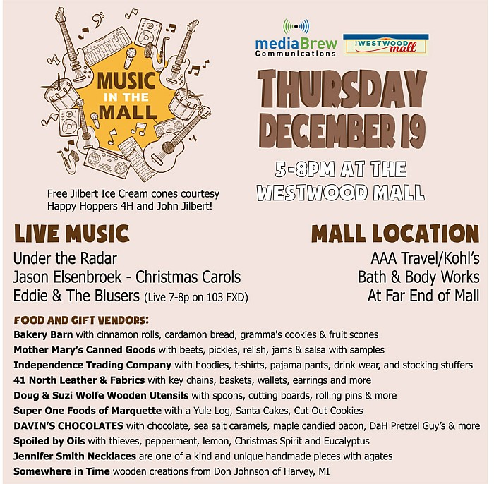 Music at the Mall - December 19th - 5p-8p