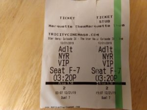 My ticket stub from Star Wars: The Rise of Skywalker