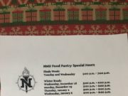 NMU Food Pantry holiday hours