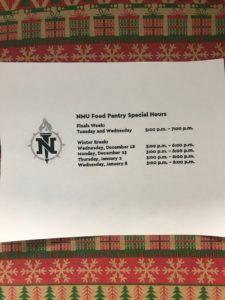 NMU Food Pantry holiday hours