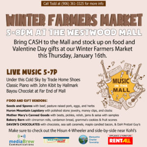 A local winter farmers market and live music at the Westwood Mall.