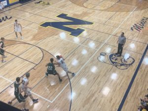 Jakson Sager drives to the rim for Negaunee in the 20-point victory over Manistique.