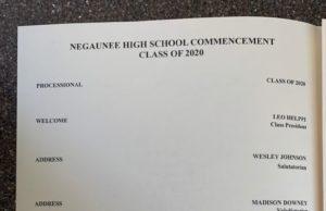 The Negaunee Graduation Ceremony Program