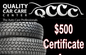Spend up to $500 on new tires from Quality Car Care Center!