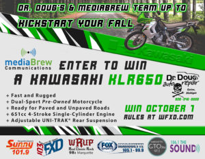 Register to win a Kawasaki KLR650 from mediaBrew and Dr. Doug's