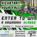 Win our next big giveaway, a Kawasaki KLR650