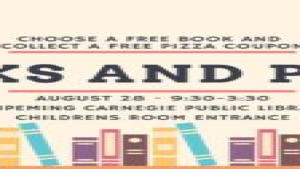 Free Books and Pizza at the Ishpeming Carnegie Public Library August 28, 2020