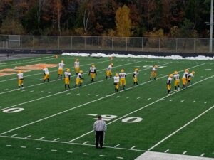 Negaunee warming up before its game with Houghton on Friday night.