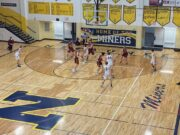 Negaunee working the ball into the post.