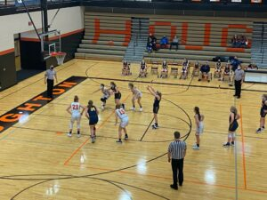 The Miners go to the free throw line against the Houghton Gremlins on Saturday afternoon.