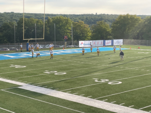 The Miners warming up before their big victory over Hancock on Friday night.