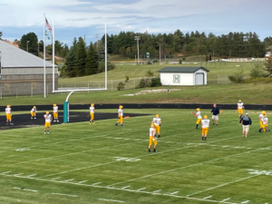 The Miners warmup for gametime.