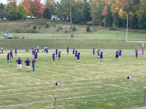 L'Anse warming up prior to Friday's game.